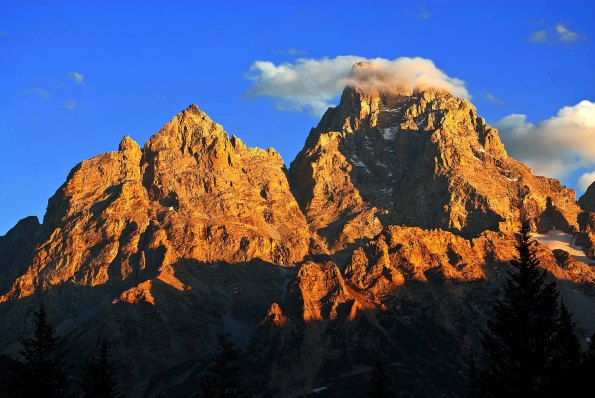 Detail of sunsent light on rugged Teton Mountains from Cascade Canyon